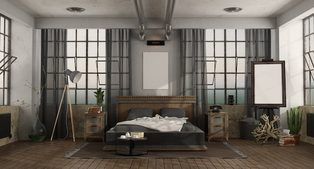 Retro bedroom with double bed in a loft