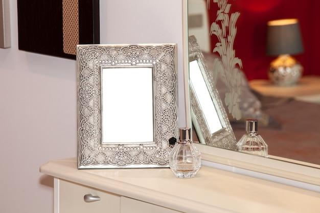 Retro blank photo frame on the drawer. mockup of photo frame