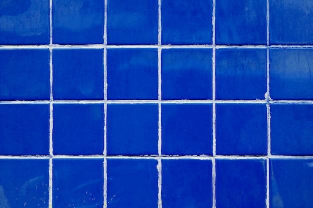 Retro blue tiles grid patterned