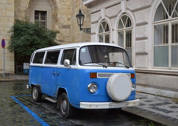 Retro blue van
