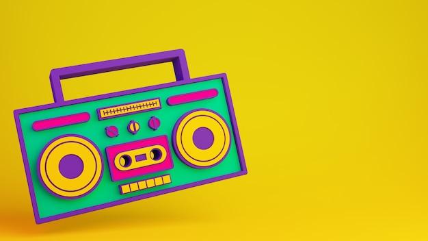 レトロラジカセ80年代オーディオデバイス3dレンダリングイラストとコピースペース