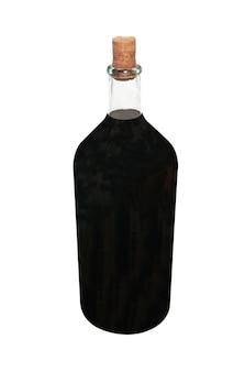 白で隔離赤ワインとレトロなボトル
