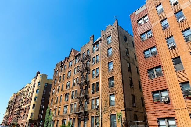 Retro brick buildings in america.
