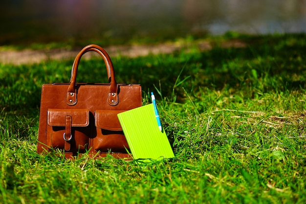 Borsa e taccuino di cuoio retro marrone dell'uomo nell'erba variopinta luminosa di estate nel parco