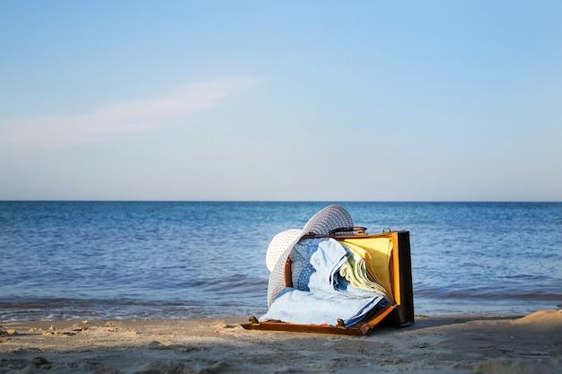 Ретро коричневый чемодан на берегу моря. свободное место