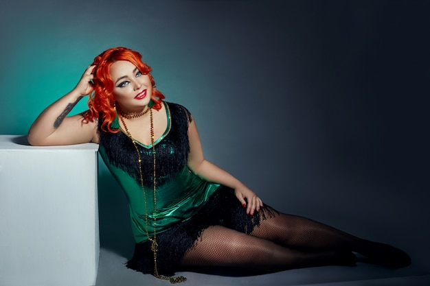 Retro cabaret plump woman with red hair