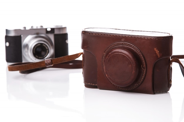 Retro camera in leather case
