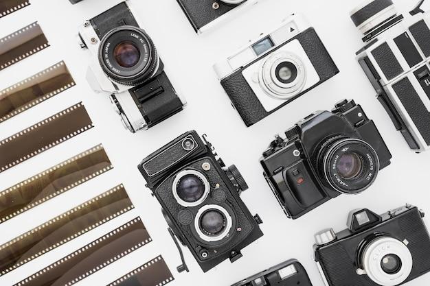 Retro camera near unrolled film
