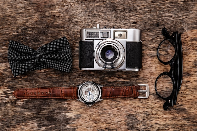 Retro camera, watch, bowtie and glasses