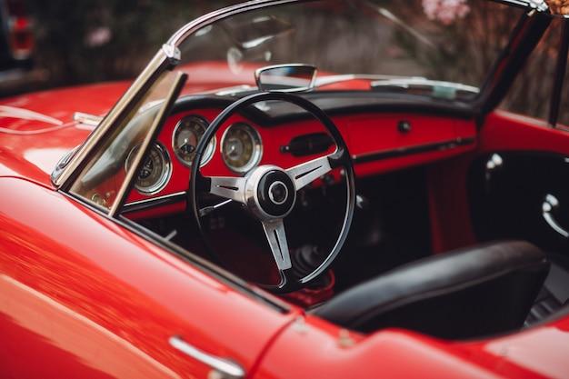 Retro car rally. red alfa-romeo.