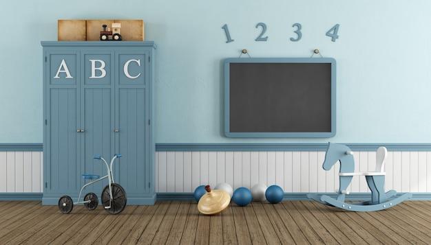 옷장과 칠판 레트로 어린이 놀이방 프리미엄 사진