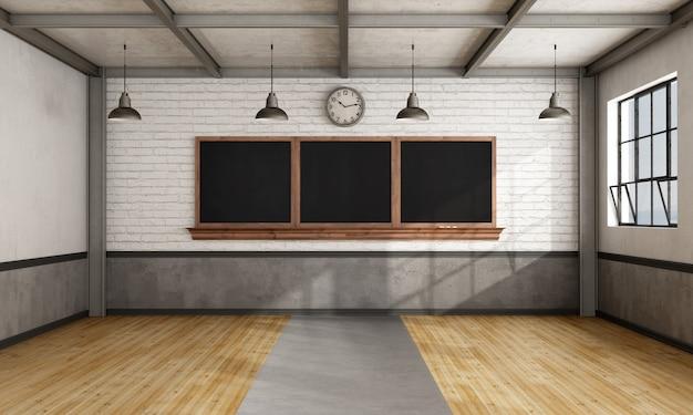 レンガの壁に黒板とレトロな教室