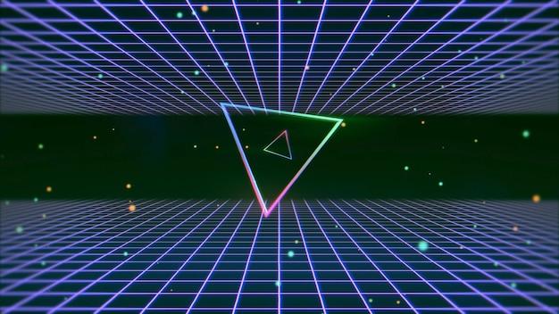 레트로 다채로운 삼각형 및 공간, 추상적인 배경에 선