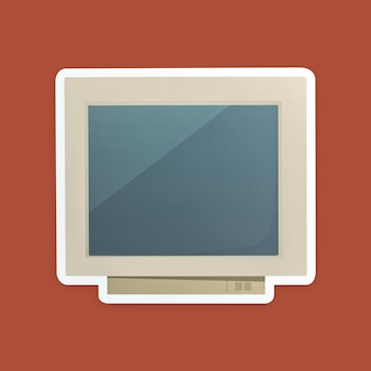 Retro computer icon isolated