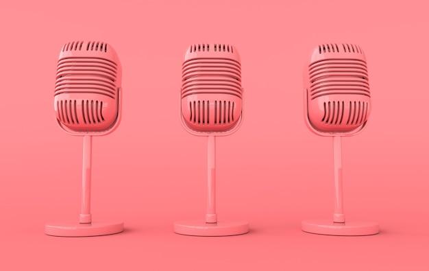 레트로 콘서트 또는 라디오 마이크 현실적인 렌더링