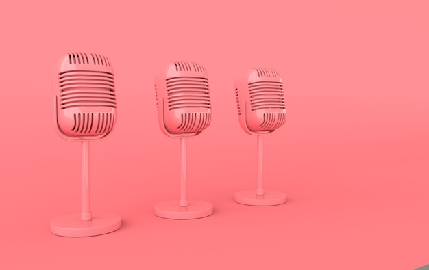 Retro concert or radio microphone realistic 3d render
