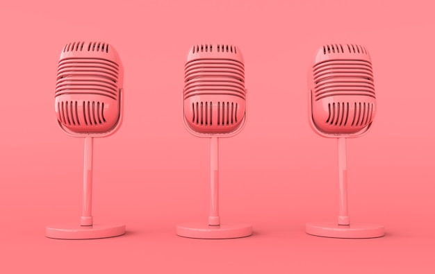 Retro concert or radio microphone realistic render