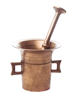 Retro copper mortar and pestle isolated on white