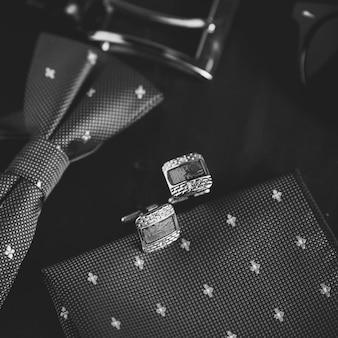Retro cufflinks, accessories for tuxedo.