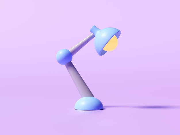 Retro desk lamp on purple background. 3d render illustration.