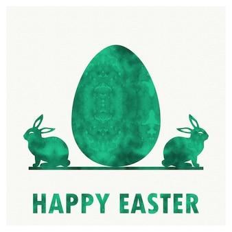 休日の背景のレトロなイースターエッグとウサギのイラスト。クリエイティブでビンテージスタイルのカード