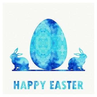 휴일 배경에 대 한 레트로 부활절 달걀과 토끼 그림입니다. 창의적이고 빈티지한 스타일의 카드