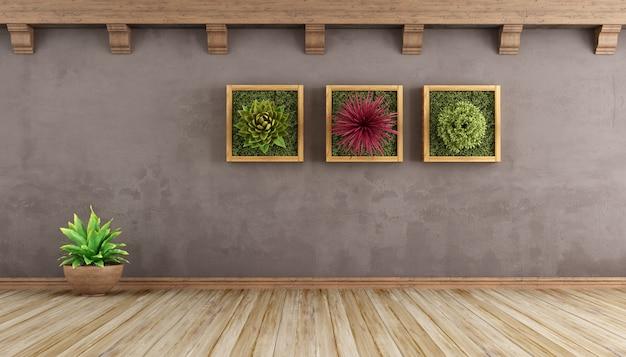 Retro empty living room with plants