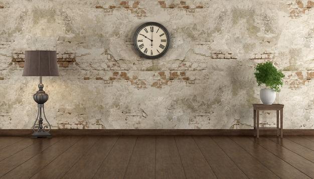古い壁、堅木張りの床、フロアランプ、ヴィンテージ時計のあるレトロな空の部屋-3dレンダリング