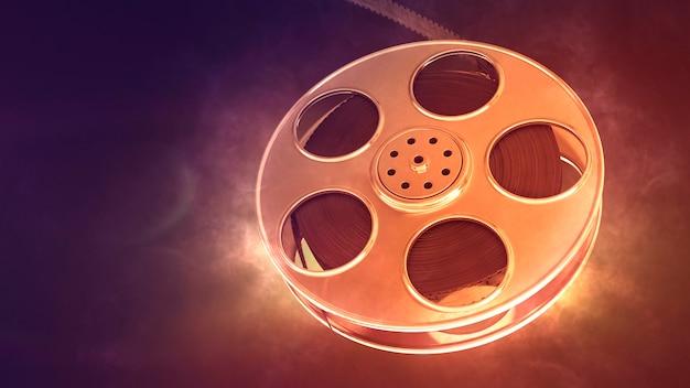 Retro film reel with burning light