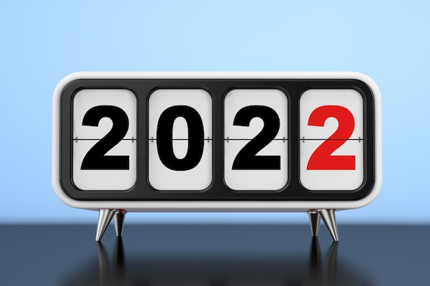 Ретро флип-часы с новогодним знаком 2022 года на синем фоне. 3d рендеринг