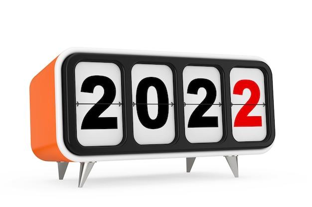Ретро флип-часы с новым годом 2022 подписать на белом фоне. 3d рендеринг