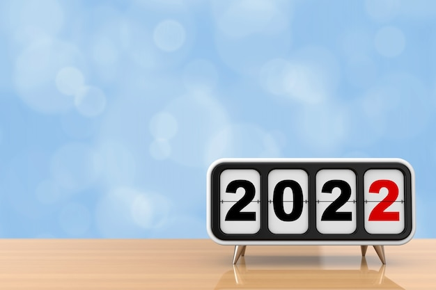 Ретро флип-часы с новогодним знаком 2022 года на деревянном столе. 3d рендеринг