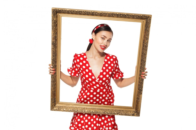 Retro frame with retro image of sexy pin up girl