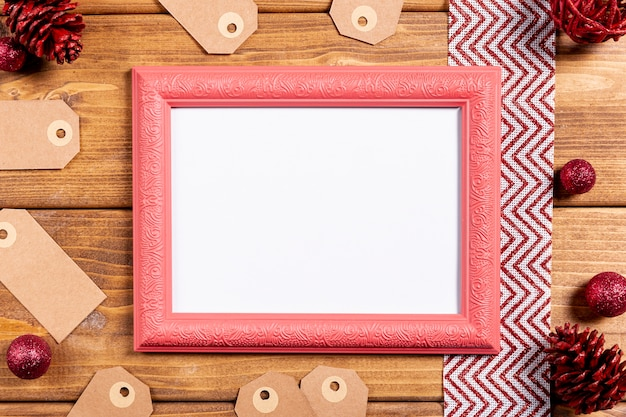 Retro frame and on wooden table