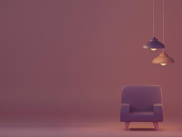 Retro furniture and decoration for design interior