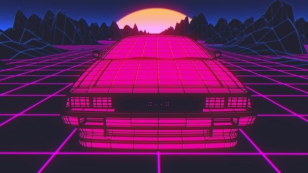Retro future, 80s style sci-fi background. futuristic car. 3d illustration.
