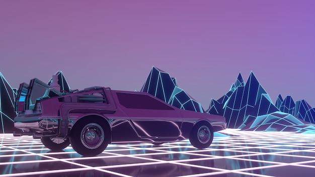 1980年代スタイルのレトロフューチャーカーは、仮想ネオンの風景の上を移動します。 3dイラスト。