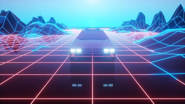 レトロな未来の車が仮想ネオンの風景の上を移動します