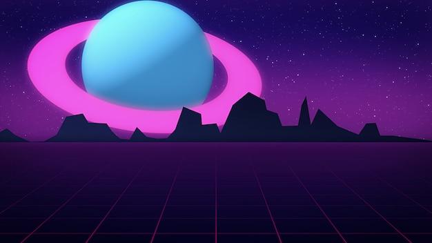 Ретро футуристическая сцена с планетой