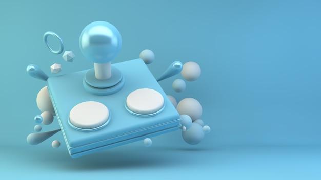 3dレンダリングで青い背景のレトロなゲームパッド
