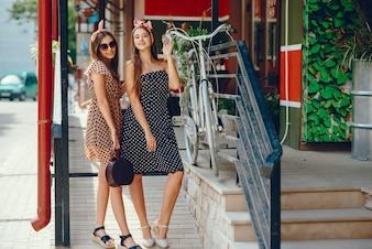 Retro girls in a city