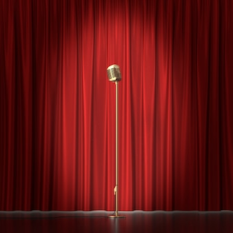 Retro gold microphone on red cloth.