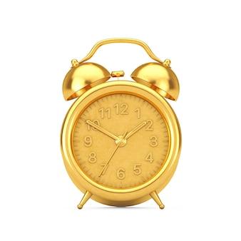 白い背景の上のレトロなゴールデン目覚まし時計。 3dレンダリング