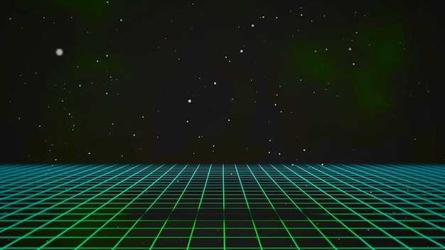 Retro green lines and grid in space, abstract background. elegant and luxury 80s, 90s style 3d illustration