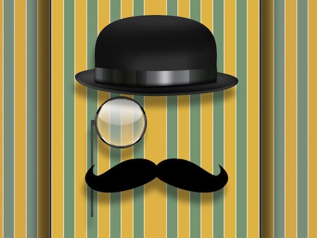 Ретро хипстерский дизайн с очками, шляпой и моноклем