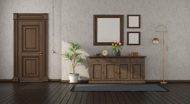 Retro home entance with wooden sideboard and closed door
