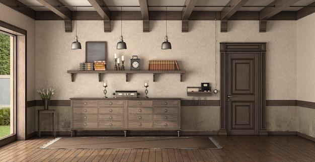 木製の正面玄関と箪笥のあるレトロな家の入り口-3dレンダリング