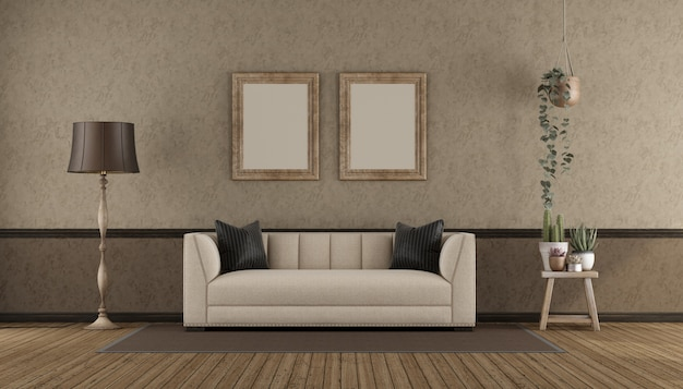 Retro interio with classi sofa
