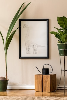 Retro interior design of living room with a lot of plants in green pots, wooden cube, water can and black picture frame on the beige wall. minimalistic concept of home decor..