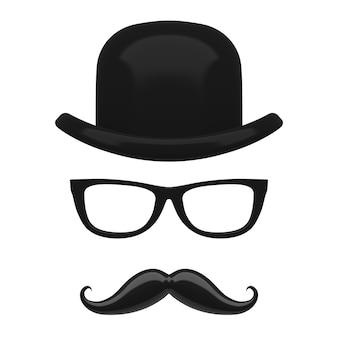 흰색 바탕에 레트로 이탈리아 중산, 콧수염 및 안경 아이콘. 3d 렌더링